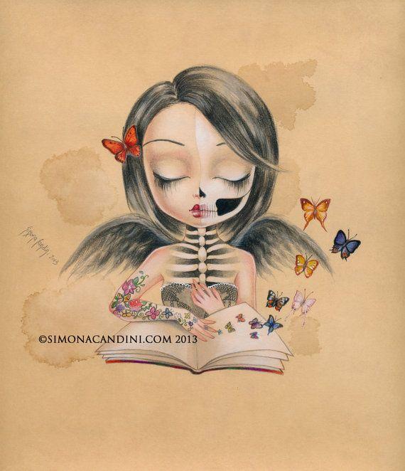 Vous pouvez voler LIMITED EDITION impression signée numérotée Simona Candini lowbrow pop surréaliste grands yeux sucre d'art gothique de crâne fille