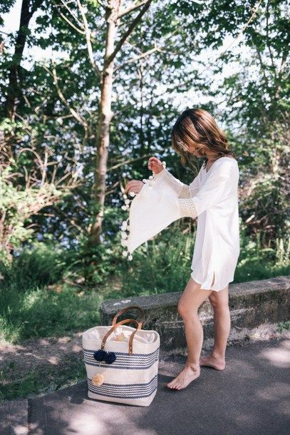 $74 ASOS White Bell Sleeve Mini Shirt Dress Teamed With $42 Olivia Miller Poppy Multi Striped Straw Tote Bag And Round Frame Sunglasses Tumblr