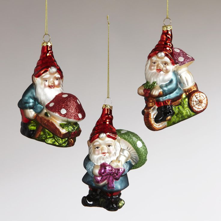 Glass Gnome Carrying Mushroom Ornaments, Set of 3-Glass Gnome Carrying Mushroom Ornaments, Set of 3 | World Market