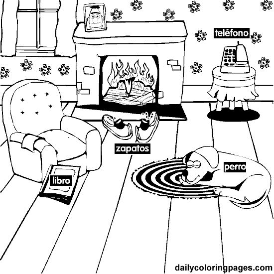 living room spanish coloring pages. Para practicar colores