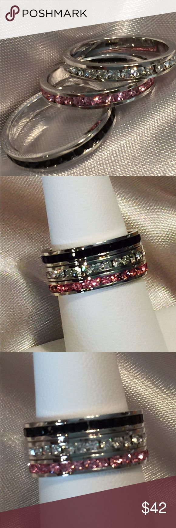 Stainless Steel Gemstone Stacker Ring Set Pink & White Topaz, and Onyx stone stacker bands, set in stainless steel, hypoallergenic channel settings. Size Jewelry Rings