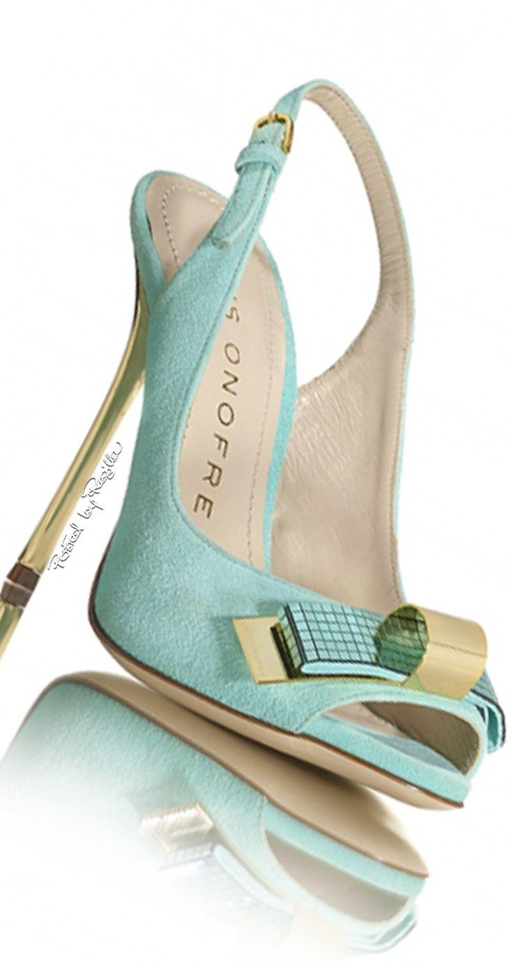 Luis Onofre ~ Spring Open Toe Slingback Heels, Aqua 2015/Dorothy Johnson