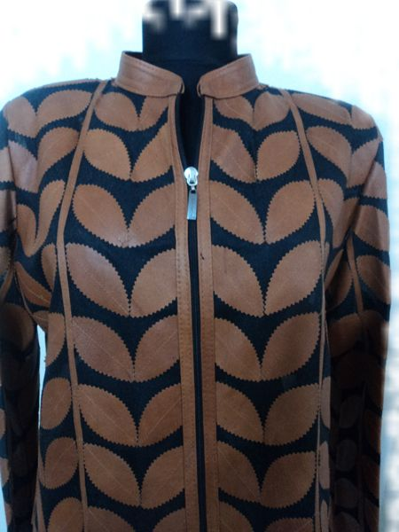 Plus Size Brown Leather Leaf Jacket for Women