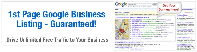 Get a 1st page business listing on Google. Guaranteed! This is for anyone looking for real traffic to their web properties.
