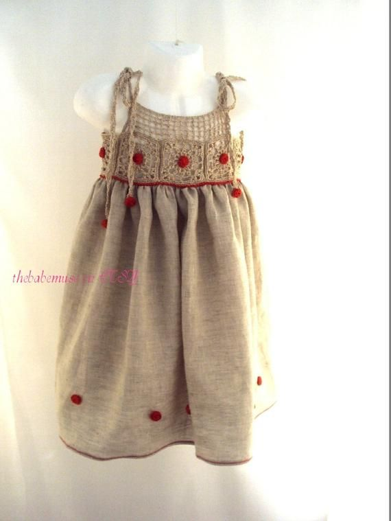 Rustic baby- girl organic linen dress, crochet yoke, flowergirl dress, baby phot…