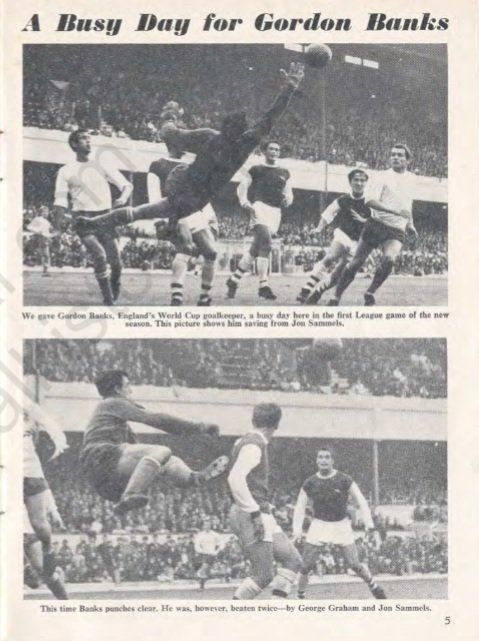 Arsenal vs Stoke City, 19/8/67. Action from the Arsenal vs Liverpool programme, 28/8/67