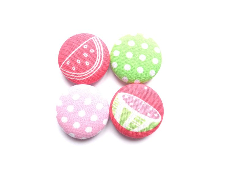 Watermelon Magnets, Polka Dot Magnets, Pink Magnets, Green Magnets, Red Magnets, Fridge Magnets, Refrigerator Magnets, Fabric Magnets by BijouxMariePuce on Etsy