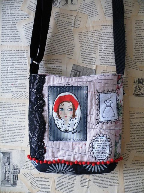 The art gallery bag...made with reused fabricsand some lace...By monaw2008