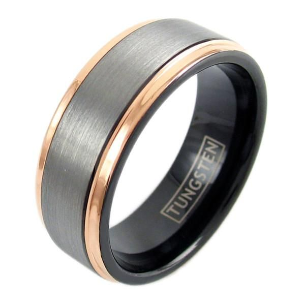 A stunning black tungsten ring with a silver brushed finish band, and beautiful rose gold stepped edge highlights. Elegant and chic styling. For men and women. Perfect for couples. Wholesale tungsten rings and wedding bands. www.925express.com