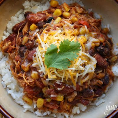 We love Crock Pot Chicken Taco Chili over rice, or served in a bowl with multi-grain chips, topped with reduced fat cheddar cheese or avocados. This makes a lot and it is even better the next day for lunch! A great freezer-friendly meal!