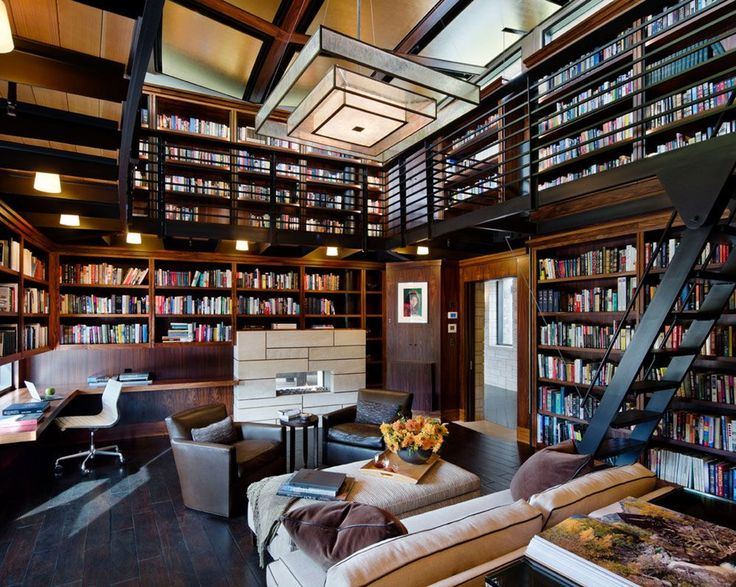 1688 best libraries home offices images on pinterest for Home library designs interior design