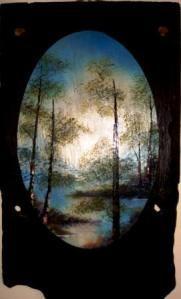 Winding River- Oil on Slate 67 cm x 38 cm