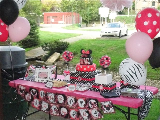 Minnie Mouse and Zebra Print Birthday Party Ideas   Photo 20 of 24