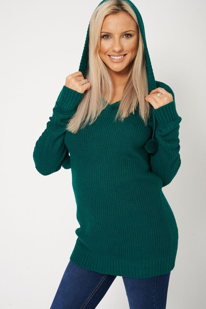 HOODED KNITTED JUMPER WITH POM POM This ones in the sale!!
