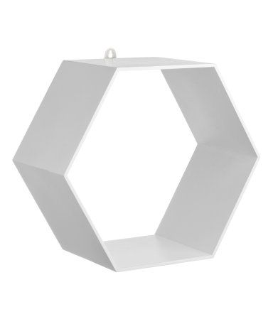 White. Hexagonal wooden shelf with a metal grommet at top. Screws not included. Size approx. 4 3/4 x 8 3/4 x 10 1/4 in.
