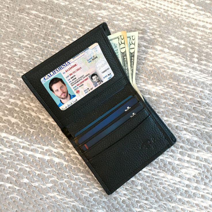 Slim Vertical Bifold RFID Wallet - Black Pebble Leather