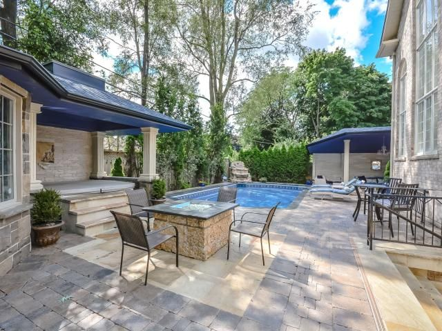#Toronto #Mississauga #RealEstate Covered Hottub with Skylight, Salt water pool, Covered sitting area and gas fire pit - Unsurpassed Quality