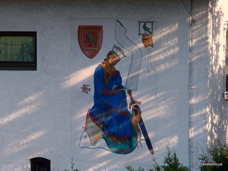 Mural about Walther von der Vogelweide in Lermoos, Austria