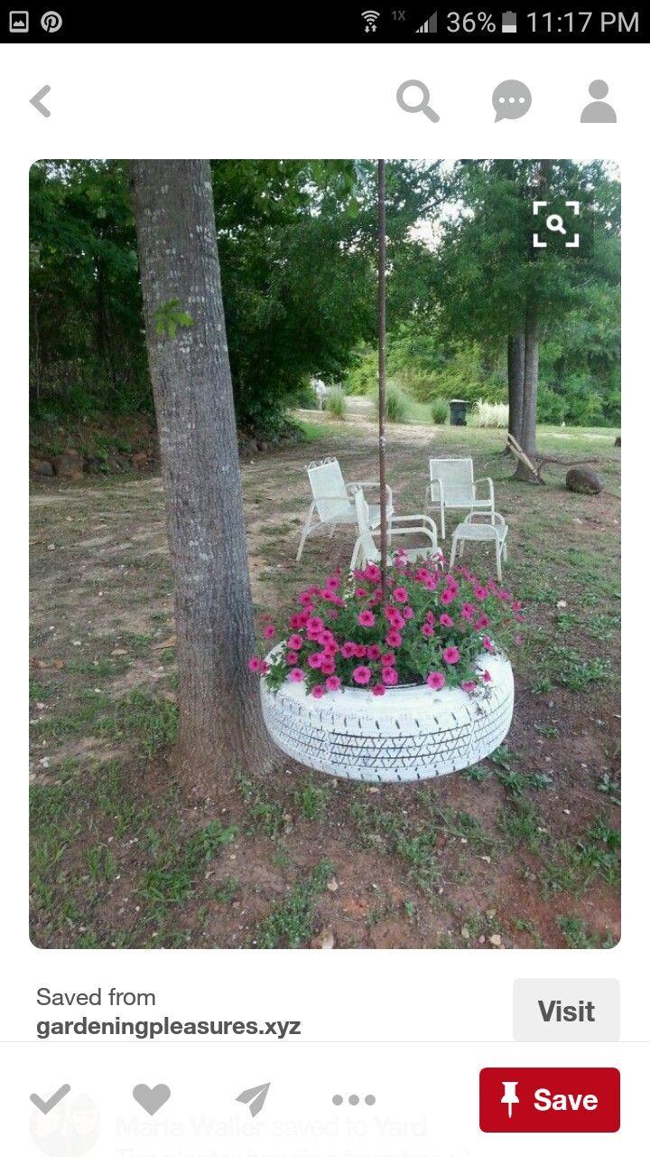Tire planter hanging from tree :-) - Gardening Pleasures