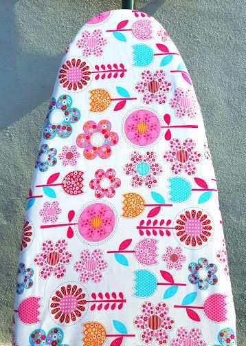 IRONING BOARD COVER Pink Fantasy Flowers Elastic Around Edges Colourful Organic Cotton Fabric Natural Scandinavian Style Handmade Gift