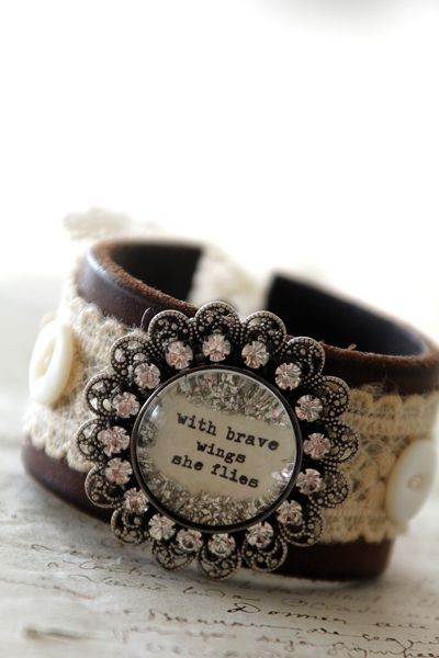 my brave wings saying .. now available on a leather cuff! #bethquinndesigns