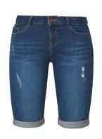 Womens Blue Mid Wash Ripped Knee Shorts- Blue