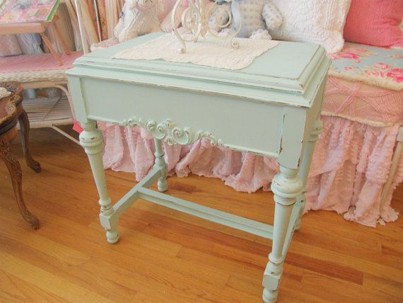antique table aqua blue shabby chic distressed nightstand coastal cottage beach prairie turquoise
