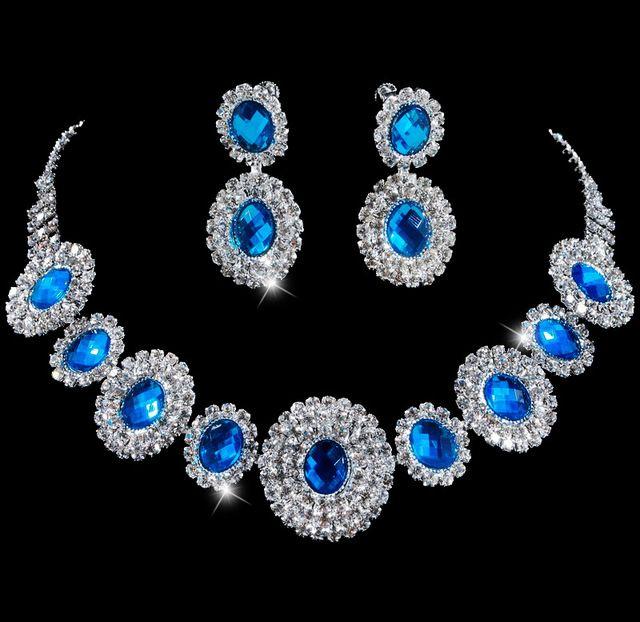Bollywood lüks koyu mavi kristal elmas düğün takı seti, moda deyimi kolye küpe seti uygun parti hediye