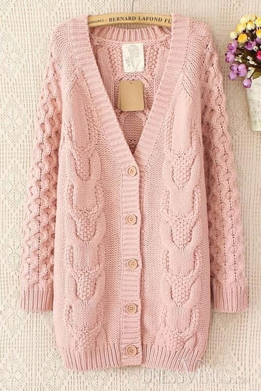 Retro New Arrival Long Sleeves Knit V-neckline Simple Cardigan