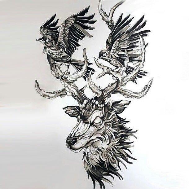 Pin By Nmk On Moose Deer Skull Tattoos Birds Tattoo Deer Tattoo Designs