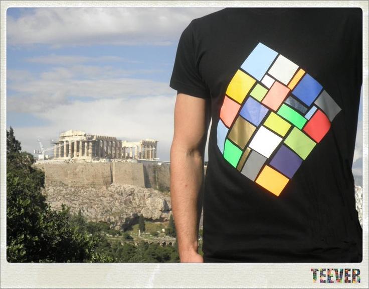 Cotton Black T-Shirt Design : Rhombus