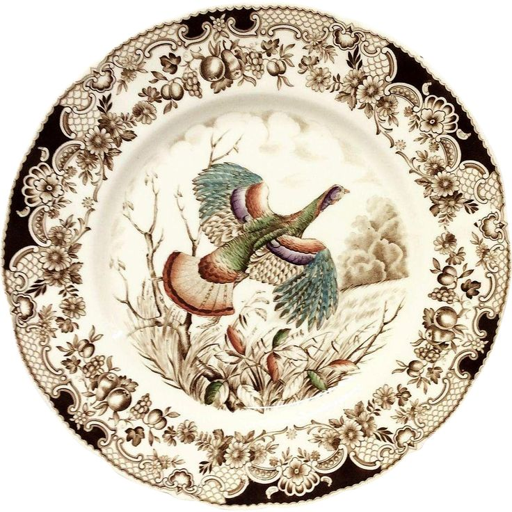 Johnson Bros. Wild Turkeys Flying Brown Dinner Plate found at www.rubylane.com @rubylanecom