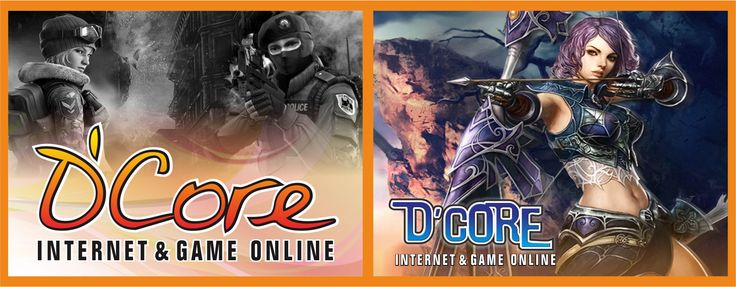 "Spanduk Design+Cetak ""D'CORE Internet and Game Uk 5 x 2 meter"