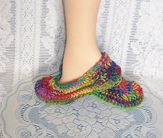 Crochet Slippers. Flats. Adult. House Shoes. by crochetbydiana, $17.50