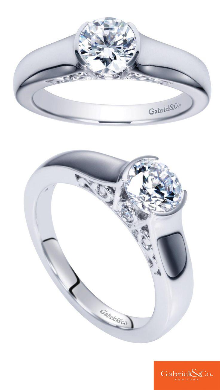 14k White Gold Round Solitaire Engagement Ring  Er14147w44jj