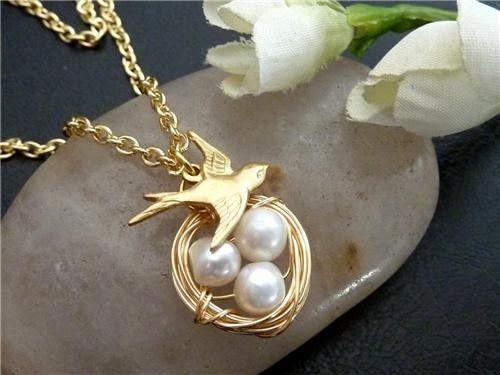 Bird Nest Necklace  Sparrow Bird Pearl Eggs by JCGemsJewelry