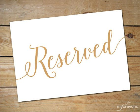 Printable Reserved Signs for Wedding // Wedding Reserved Table Sign // Reserved Wedding Sign, Gold Wedding