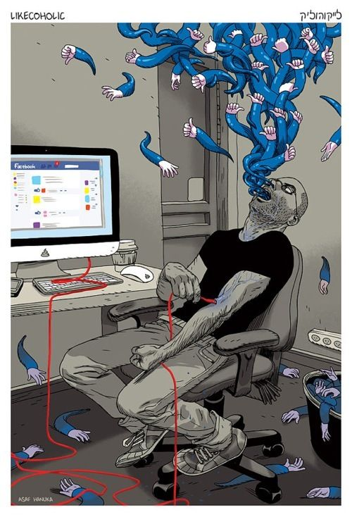 Likecoholic Print by Asaf Hanuka... Something I like about this print, but I can't put my thumb on it.
