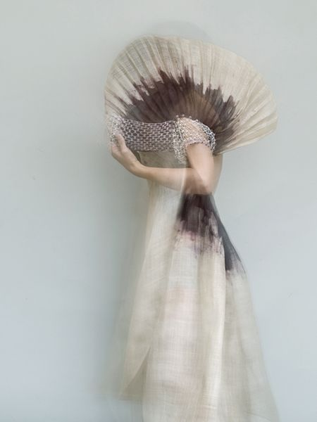 painted & pleated dress with soft cocoon hood; sculptural fashion // Aude Tahon