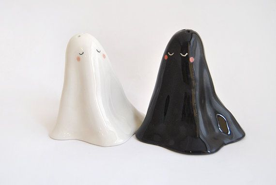 Ceramic Salt and Pepper Cellar or Salt and Pepper Shakers, Ghost Shaped, in…
