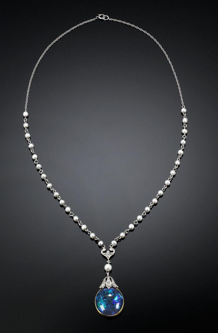 Estate Jewelry, Colored Gemstones, Black Opal Necklace ~ M.S. Rau Antiques