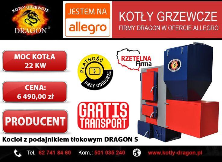 🔴 Kocioł z podajnikiem tłokowym DRAGON S 22 KW  🔴 Wejdź w bezpośredni link do naszej aukcji: ➞ http://allegro.pl/kociol-kotly-piece-co-z-podajnikiem-tlokowym-22kw-i6301516907.html  ⚫KONTAKT:  📞tel./fax: 62 741 84 60 📲kom. 501 035 240  ✉e-mail: biuro@kotly-dragon.pl ✉e-mail: handlowy@kotly-dragon.pl  ➞Zapraszamy również na nasze aukcje allegro: http://bit.ly/kotly ➞Oraz stronę internetową: http://www.kotly-dragon.pl/  #KOCIOŁ #PIECE #KOTŁY #WĘGIEL #MIAŁ #EKOGROSZEK #PELLET #MIAŁ