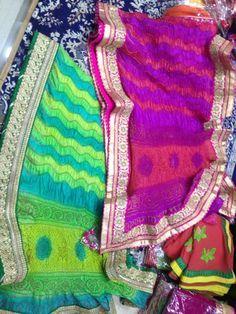 Designer spray dyeing bandhani Sarees by Araina Fabs. Mount Abu