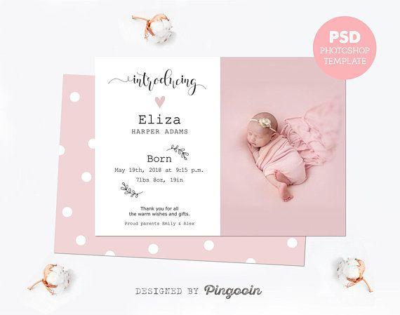 Birth Announcement Newborn Card Baby Announcement Newborn
