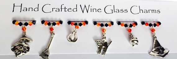 Witches Tricks - Halloween Wine Glass Charms - Halloween Party - Halloween Gifts