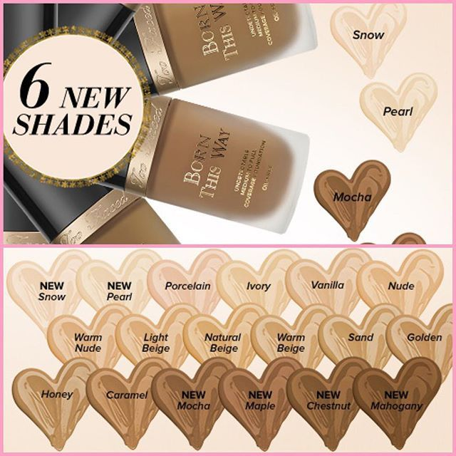 One of my Top Favorite #Foundation ok_handskin-tone-3yellow_heart #BornThisWay arrow_right @TooFaced heartpulse 6 NEW Shades NOW Officially available Online. New shades for the beautiful fair & dark skin raised_handsskin-tone-2raised_handsskin-tone-5Snow / Pearl / Mocha / Maple / Chestnut / Mahogany. #LoveIt purple_heart What is your shade? Please share and help others vskin-tone-3️ #trendmood #makeup #ilovemakeup #beauty #cosmetics #toofacedfoundation #love #makeupaddict #bbloggers