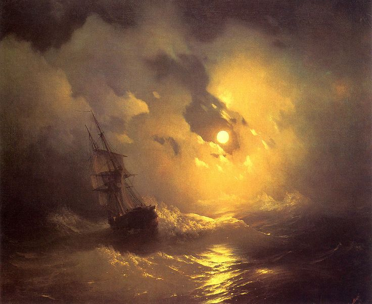 Ivan Konstantinovich Aivazovsky. Storm at Night, Date: 1849. Buy this painting as premium quality canvas art print from Modarty Art Gallery. #art, #canvas, #design, #painting, #print, #poster, #decoration