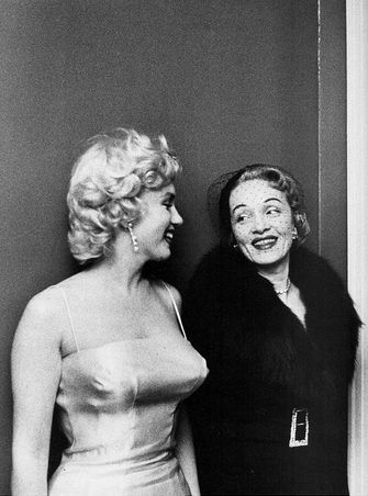 Marilyn and Marlene. Photo: Milton Greene, 1955. How nice to see two women smiling at each other.