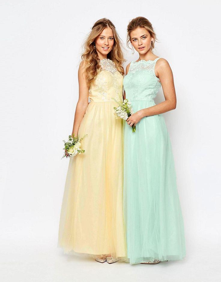 Image 3 ofChi Chi London Bardot Neck Sleeveless Maxi Dress with Premium Lace and Tulle Skirt