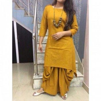 51e4f543ad Rs.1599, Buy Online Paris Style Rayon Yellow Plain Stitched Dhoti Style  Kurti -